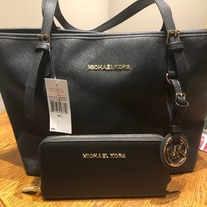 MK tote and wallet